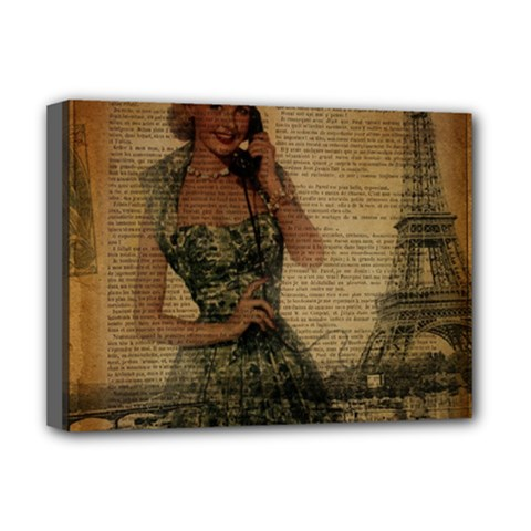 Retro Telephone Lady Vintage Newspaper Print Pin Up Girl Paris Eiffel Tower Deluxe Canvas 16  X 12  (framed)