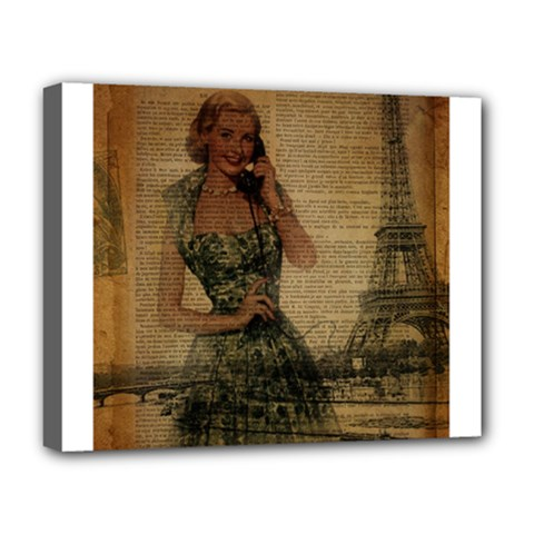 Retro Telephone Lady Vintage Newspaper Print Pin Up Girl Paris Eiffel Tower Deluxe Canvas 20  x 16  (Framed)
