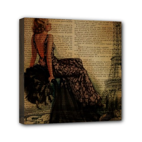 Elegant Evening Gown Lady Vintage Newspaper Print Pin Up Girl Paris Eiffel Tower Mini Canvas 6  X 6  (framed)