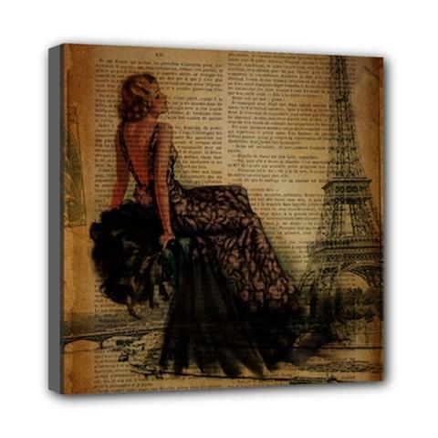 Elegant Evening Gown Lady Vintage Newspaper Print Pin Up Girl Paris Eiffel Tower Mini Canvas 8  x 8  (Framed)