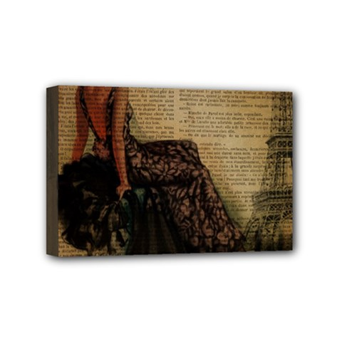 Elegant Evening Gown Lady Vintage Newspaper Print Pin Up Girl Paris Eiffel Tower Mini Canvas 6  x 4  (Framed)