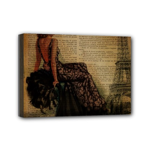 Elegant Evening Gown Lady Vintage Newspaper Print Pin Up Girl Paris Eiffel Tower Mini Canvas 7  x 5  (Framed)