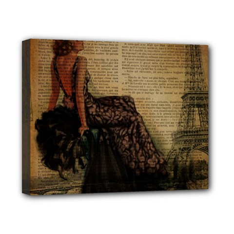 Elegant Evening Gown Lady Vintage Newspaper Print Pin Up Girl Paris Eiffel Tower Canvas 10  X 8  (framed)