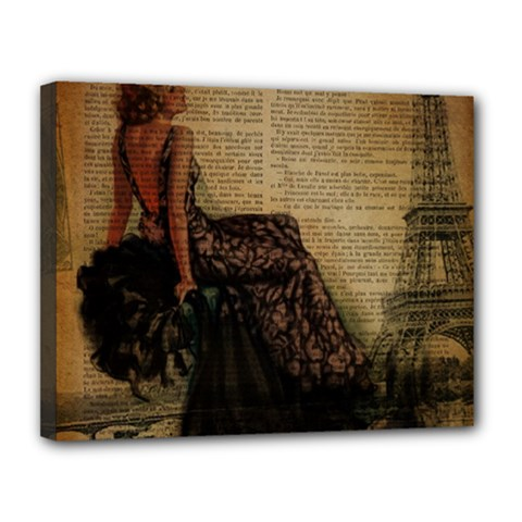 Elegant Evening Gown Lady Vintage Newspaper Print Pin Up Girl Paris Eiffel Tower Canvas 14  X 11  (framed)