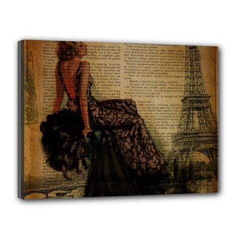 Elegant Evening Gown Lady Vintage Newspaper Print Pin Up Girl Paris Eiffel Tower Canvas 16  x 12  (Framed)