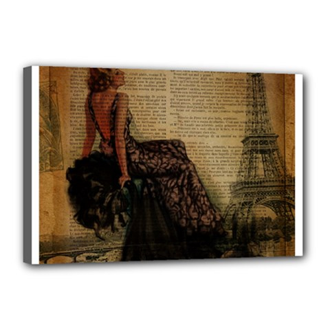 Elegant Evening Gown Lady Vintage Newspaper Print Pin Up Girl Paris Eiffel Tower Canvas 18  x 12  (Framed)