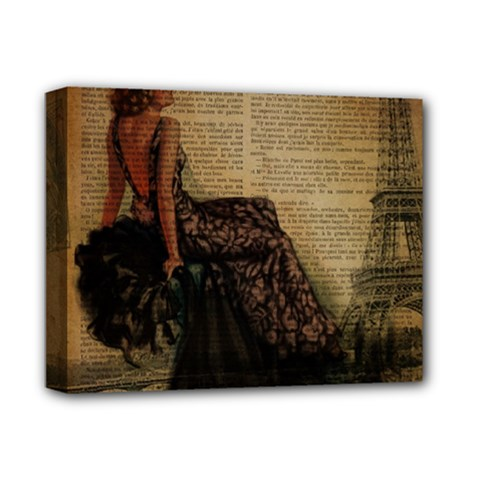 Elegant Evening Gown Lady Vintage Newspaper Print Pin Up Girl Paris Eiffel Tower Deluxe Canvas 14  X 11  (framed)
