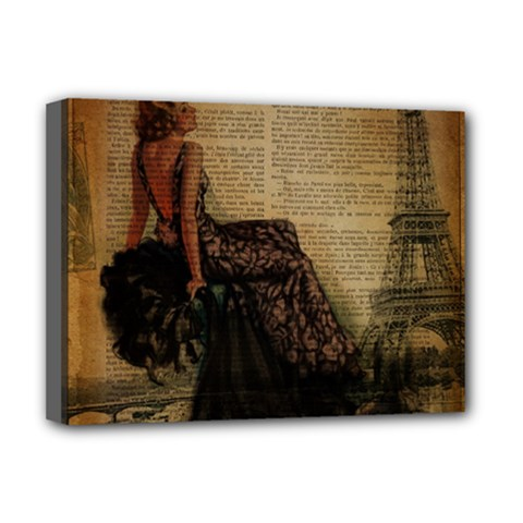 Elegant Evening Gown Lady Vintage Newspaper Print Pin Up Girl Paris Eiffel Tower Deluxe Canvas 16  x 12  (Framed)