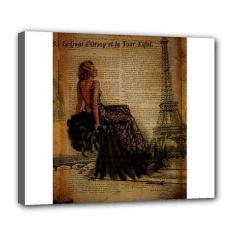 Elegant Evening Gown Lady Vintage Newspaper Print Pin Up Girl Paris Eiffel Tower Deluxe Canvas 24  x 20  (Framed)