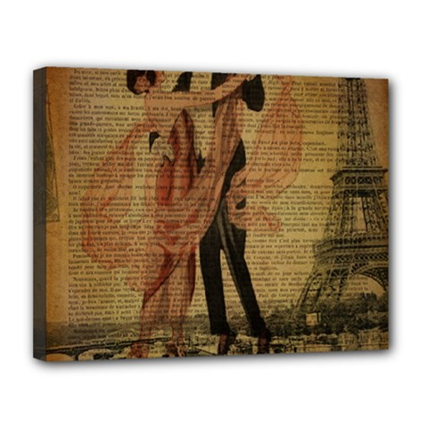 Vintage Paris Eiffel Tower Elegant Dancing Waltz Dance Couple  Canvas 14  x 11  (Framed)