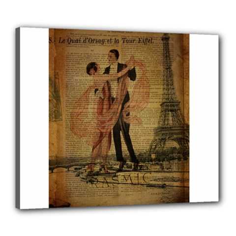 Vintage Paris Eiffel Tower Elegant Dancing Waltz Dance Couple  Canvas 24  X 20  (framed)