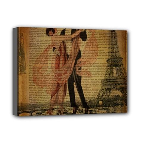 Vintage Paris Eiffel Tower Elegant Dancing Waltz Dance Couple  Deluxe Canvas 16  x 12  (Framed)