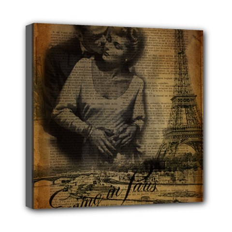 Romantic Kissing Couple Love Vintage Paris Eiffel Tower Mini Canvas 8  x 8  (Framed)