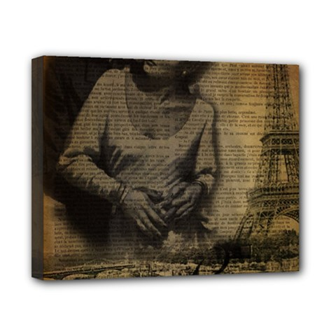 Romantic Kissing Couple Love Vintage Paris Eiffel Tower Canvas 10  x 8  (Framed)
