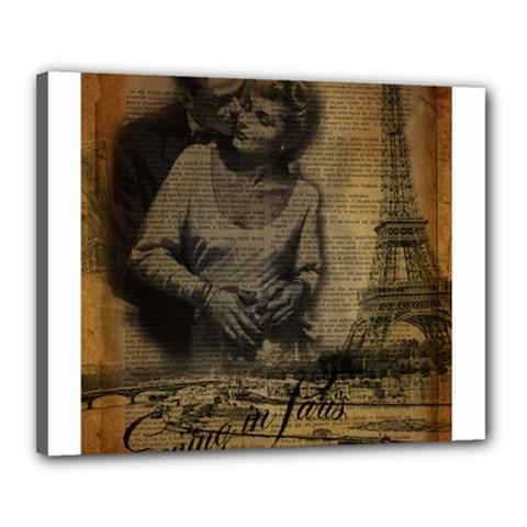 Romantic Kissing Couple Love Vintage Paris Eiffel Tower Canvas 20  x 16  (Framed)