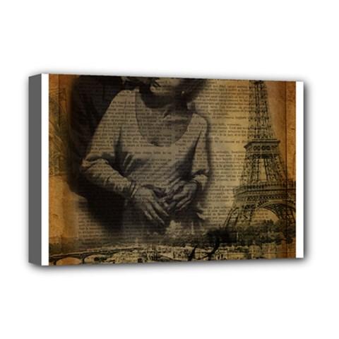 Romantic Kissing Couple Love Vintage Paris Eiffel Tower Deluxe Canvas 18  x 12  (Framed)