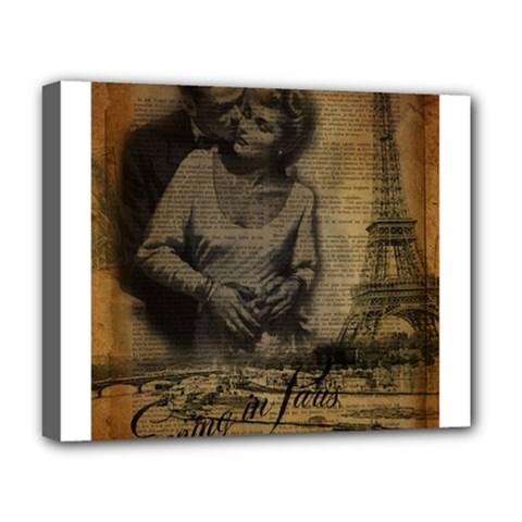 Romantic Kissing Couple Love Vintage Paris Eiffel Tower Deluxe Canvas 20  x 16  (Framed)