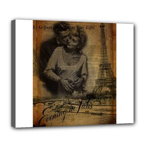 Romantic Kissing Couple Love Vintage Paris Eiffel Tower Deluxe Canvas 24  X 20  (framed)