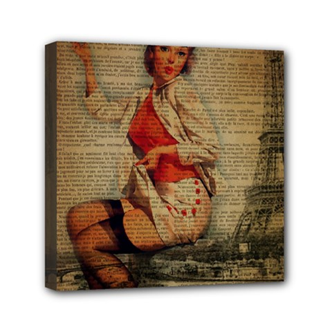 Vintage Newspaper Print Pin Up Girl Paris Eiffel Tower Funny Vintage Retro Nurse  Mini Canvas 6  x 6  (Framed)