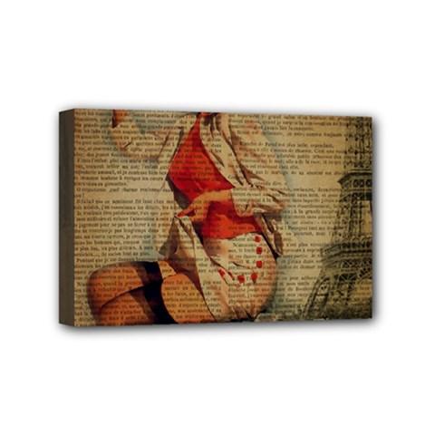 Vintage Newspaper Print Pin Up Girl Paris Eiffel Tower Funny Vintage Retro Nurse  Mini Canvas 6  x 4  (Framed)