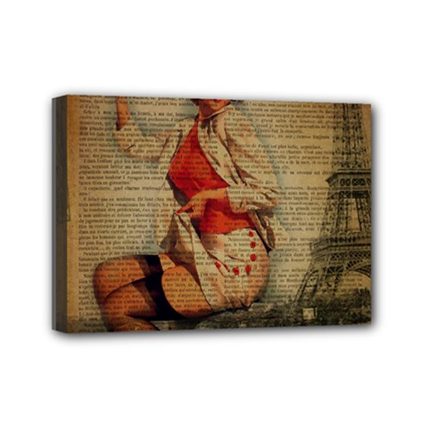 Vintage Newspaper Print Pin Up Girl Paris Eiffel Tower Funny Vintage Retro Nurse  Mini Canvas 7  X 5  (framed)