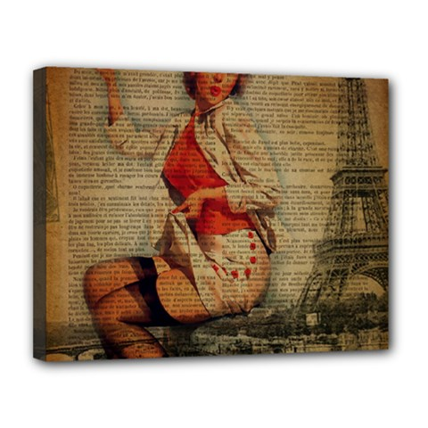 Vintage Newspaper Print Pin Up Girl Paris Eiffel Tower Funny Vintage Retro Nurse  Canvas 14  x 11  (Framed)