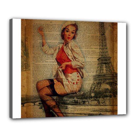 Vintage Newspaper Print Pin Up Girl Paris Eiffel Tower Funny Vintage Retro Nurse  Canvas 20  x 16  (Framed)