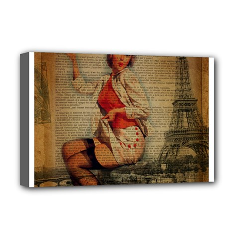 Vintage Newspaper Print Pin Up Girl Paris Eiffel Tower Funny Vintage Retro Nurse  Deluxe Canvas 18  x 12  (Framed)