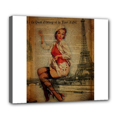 Vintage Newspaper Print Pin Up Girl Paris Eiffel Tower Funny Vintage Retro Nurse  Deluxe Canvas 24  x 20  (Framed)