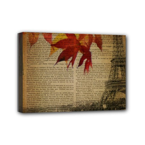 Elegant Fall Autumn Leaves Vintage Paris Eiffel Tower Landscape Mini Canvas 7  X 5  (framed)