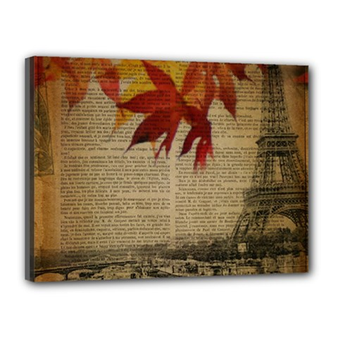Elegant Fall Autumn Leaves Vintage Paris Eiffel Tower Landscape Canvas 16  x 12  (Framed)