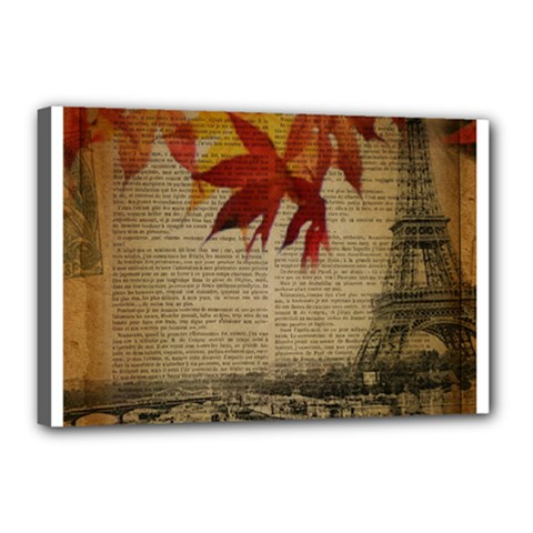 Elegant Fall Autumn Leaves Vintage Paris Eiffel Tower Landscape Canvas 18  X 12  (framed)