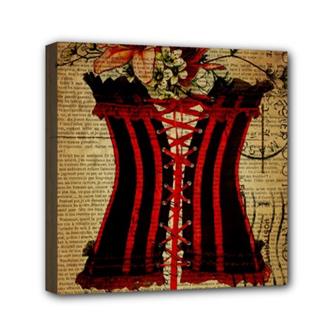 Black Red Corset Vintage Lily Floral Shabby Chic French Art Mini Canvas 6  x 6  (Framed)