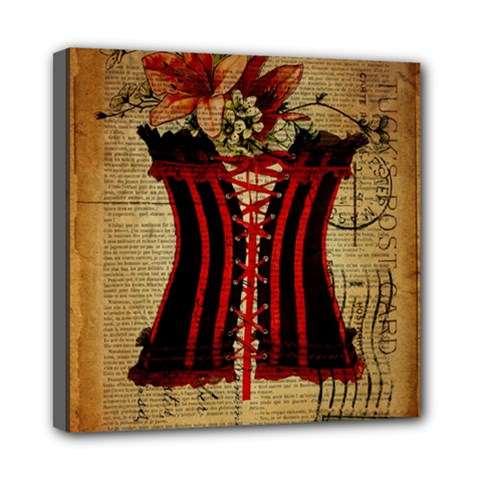 Black Red Corset Vintage Lily Floral Shabby Chic French Art Mini Canvas 8  x 8  (Framed)
