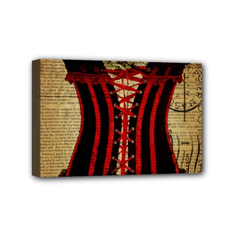 Black Red Corset Vintage Lily Floral Shabby Chic French Art Mini Canvas 6  x 4  (Framed)