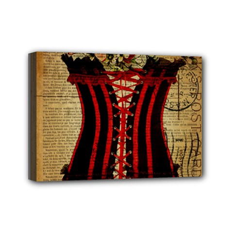 Black Red Corset Vintage Lily Floral Shabby Chic French Art Mini Canvas 7  X 5  (framed)