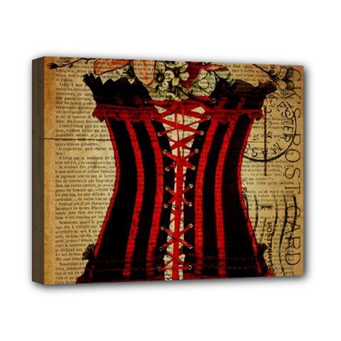 Black Red Corset Vintage Lily Floral Shabby Chic French Art Canvas 10  x 8  (Framed)