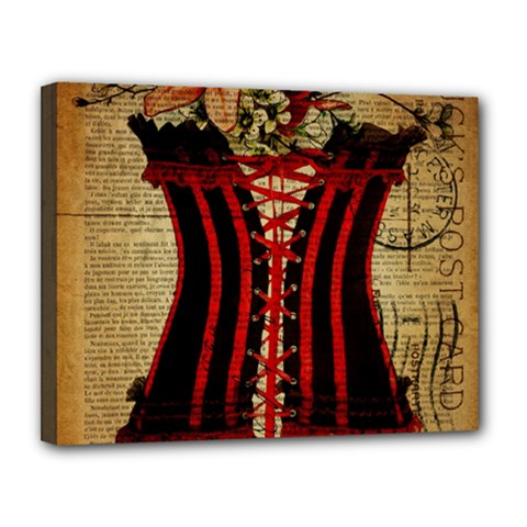 Black Red Corset Vintage Lily Floral Shabby Chic French Art Canvas 14  X 11  (framed)