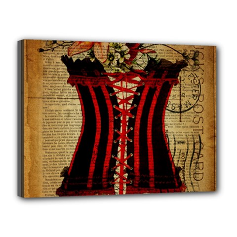 Black Red Corset Vintage Lily Floral Shabby Chic French Art Canvas 16  X 12  (framed)
