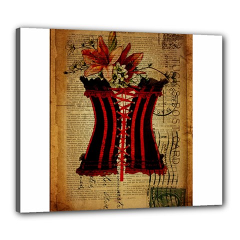 Black Red Corset Vintage Lily Floral Shabby Chic French Art Canvas 24  x 20  (Framed)