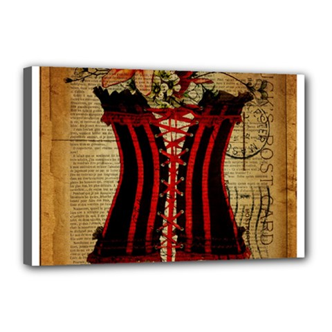 Black Red Corset Vintage Lily Floral Shabby Chic French Art Canvas 18  X 12  (framed)