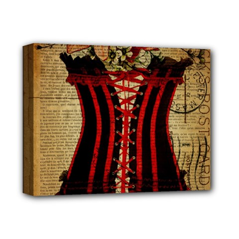 Black Red Corset Vintage Lily Floral Shabby Chic French Art Deluxe Canvas 14  X 11  (framed)