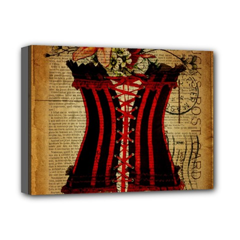 Black Red Corset Vintage Lily Floral Shabby Chic French Art Deluxe Canvas 16  x 12  (Framed)