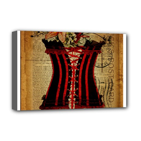 Black Red Corset Vintage Lily Floral Shabby Chic French Art Deluxe Canvas 18  x 12  (Framed)