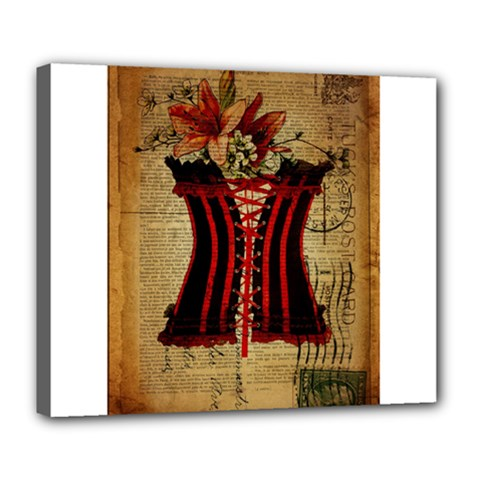 Black Red Corset Vintage Lily Floral Shabby Chic French Art Deluxe Canvas 24  x 20  (Framed)