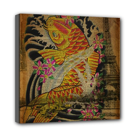 Funky Japanese Tattoo Koi Fish Graphic Art Mini Canvas 8  x 8  (Framed)