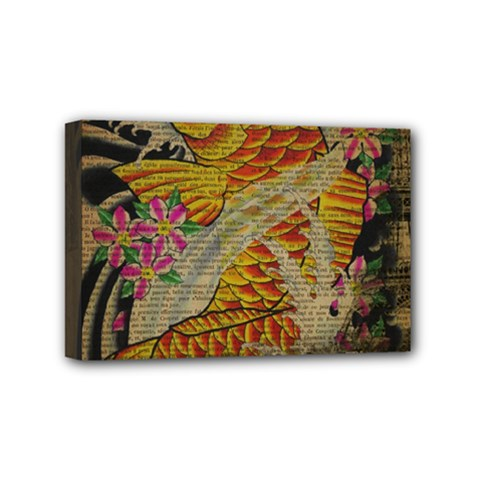 Funky Japanese Tattoo Koi Fish Graphic Art Mini Canvas 6  x 4  (Framed)