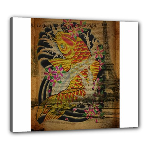 Funky Japanese Tattoo Koi Fish Graphic Art Canvas 24  x 20  (Framed)