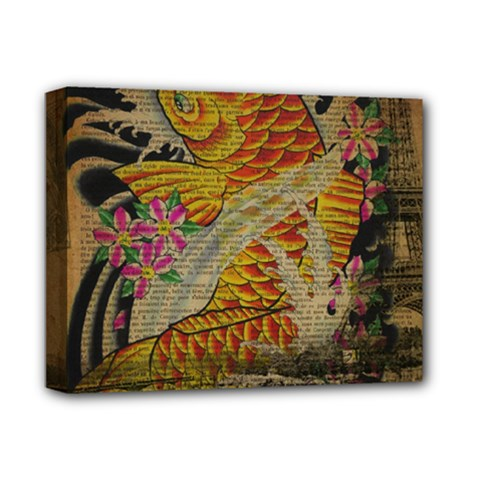 Funky Japanese Tattoo Koi Fish Graphic Art Deluxe Canvas 14  x 11  (Framed)