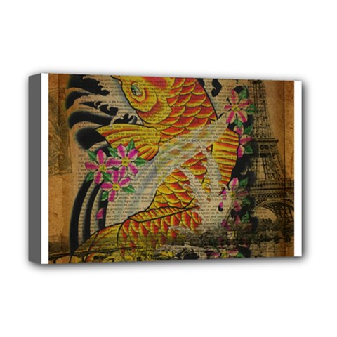 Funky Japanese Tattoo Koi Fish Graphic Art Deluxe Canvas 18  X 12  (framed)